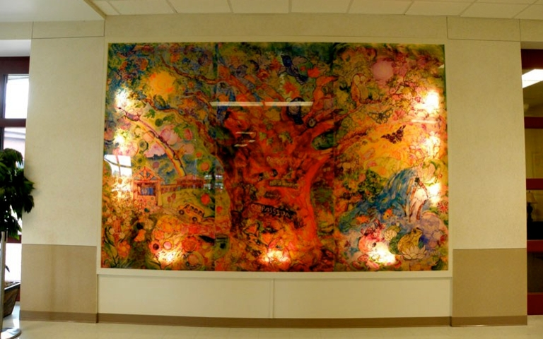 Plexiglass mural created by Sofiya and students at Maple Glen Elementary